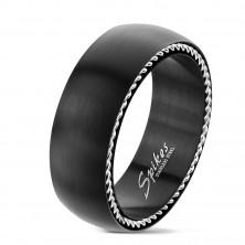 Inel din oțel inoxidabil cu spirale pe laturile, negru mat, 8 mm