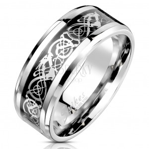 Inel din oțel cu ornamente negre și argintii, 8 mm