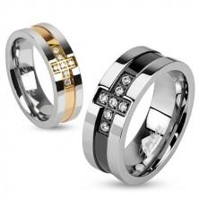 Inel din oțel inoxidabil, cruce din zirconii, linie culoarea cuprului, 6 mm