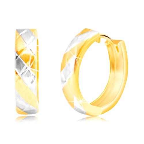 Bijuterii eshop - Cercei din aur combinat de 14K cu dungi alternante și grilă GG218.06