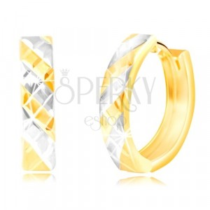 Cercei rotunzi din aur de 14K - linii din aur alb și galben, crestături strălucitoare