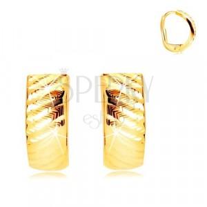 Cercei din aur galben 585 - arc strălucitor cu crestături diagonale