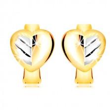 Cercei din aur 585 - inimă bicoloră, cu o frunză