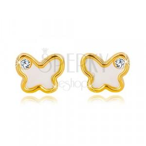 Cercei din aur galben de 14K – fluture cu suprafața perlată, zirconiu transparent