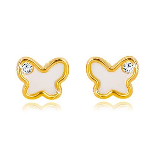 Bijuterii eshop - Cercei din aur galben de 14K – fluture cu suprafața perlată, zirconiu transparent GG19.10