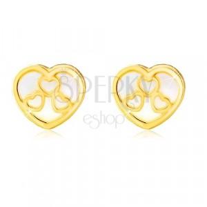 Cercei din aur galben de 14K – inimă cu suprafața perlată și contururi de inimă