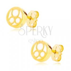 Cercei din aur galben 585 – cerc cu suprafața perlată și trei bucle