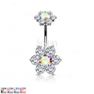 Piercing pentru buric din oțel 316L - două flori cu șase petale din zirconii