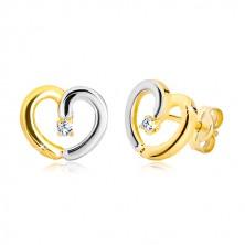 Cercei din aur de 14K - contur de inimă în două culori, zirconiu transparent