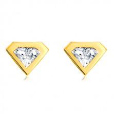 Cercei din aur 585 - zirconiu cu margine din aur galben, formă de diamant