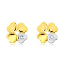 Cercei din aur de 14K - trifoi cu patru foi, inimă cu zirconiu