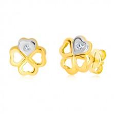 Cercei din aur de 14K - trifoi cu patru foi, inimă din aur alb cu diamant