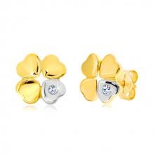 Cercei din aur 585 - trifoi cu patru foi, inimă cu diamant