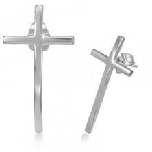 Cercei din oțel inoxidabil - cruce îngustă cu suprafață strălucitoare
