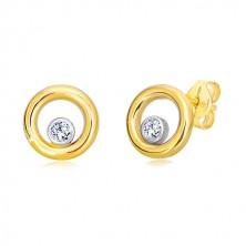 Cercei din aur combinat de 14K - cerc decorat cu zirconiu