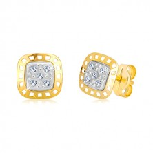 Cercei din aur combinat 585 - pătrat în două culori, cu zirconii