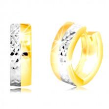 Cercei rotunzi din aur 585 - cerc cu suprafață în două culori