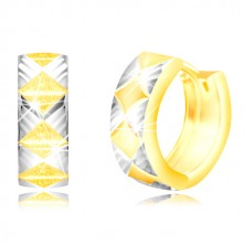 Cercei din aur 585 - romburi mate, triunghiuri din aur alb