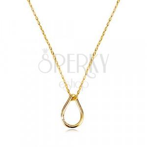 Colier din aur galben de 9K - contur de lacrimă, lanț subțire cu zale ovale