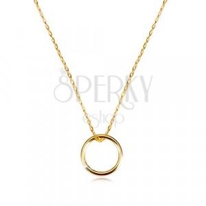 Colier din aur 375 - lanț cu pandantiv sub formă de cerc neted strălucitor