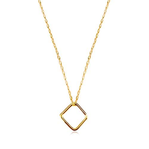 Bijuterii eshop - Colier din aur galben de 9K - romb simplu, lanț subțire GG60.21