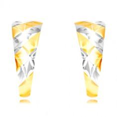 Cercei din aur 585 - arc asimetric, dungi verticale