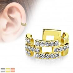 Piercing fals pentru ureche - contururi aliniate de dreptunghiuri incrustate cu zirconii