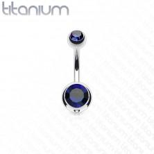 Piercing din titan pentru buric, două pietre colorate, lungime 12 mm