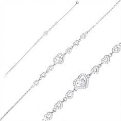 Brățară din argint 925 - serie de inimi din zirconii, inimă mare și zirconiu
