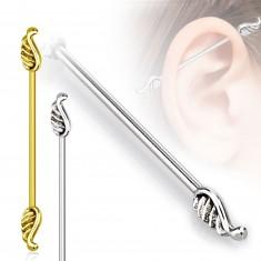 Piercing pentru ureche din oțel 316L - aripi de înger, lățime 1,2 mm