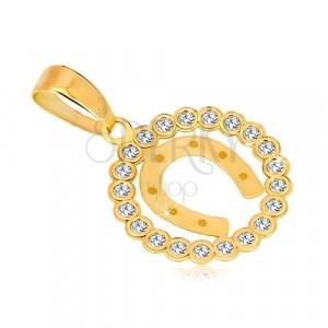 Pandantiv din aur galben de 14K - cerc din zirconii și potcoavă pentru noroc