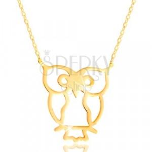 Colier din aur galben 585 - bifnița, simbol al înțelepciunii, lanț subțire lucios