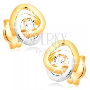 Cercei din aur 585 - benzi interconectate în două culori, zirconii strălucitoare