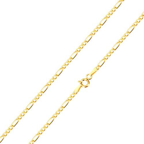 Bijuterii eshop - Lanț din aur 585 - model Figaro, trei zale ovale și una alungită, 500 mm GG101.32