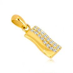 Pandantiv din aur galben de 14K - bandă ondulată, jumătate incrustată cu zirconii