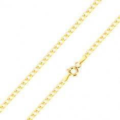 Lanț din aur galben de 14K - zale plate ovale, luciul ridicat, 500 mm