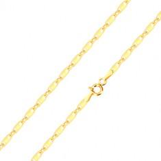 Lanț din aur galben de 14K - zale ovale și alungite cu dreptunghiuri, 550 mm