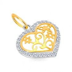 Pandantiv din aur de 14K - contur de inimă cu zirconii, centru sculptat decorativ