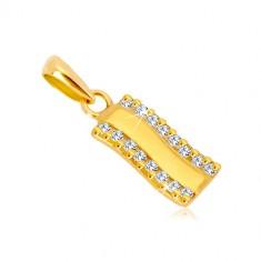 Pandantiv din aur 585 - bandă ondulată strălucitoare, linie verticală de zirconii