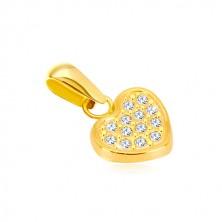 Pandantiv din aur galben de 14K - inimă simetrică decorată cu zirconii
