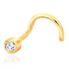 Piercing pentru nas din aur de 14K - formă îndoită, zirconiu transparent în montură