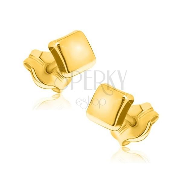 Cercei din aur 375 - pătrate cu suprafață strălucitoare