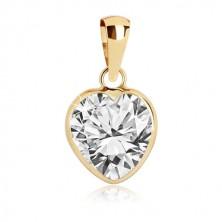 Pandantiv din aur galben 375 - contur de inimă cu zirconiu transparent