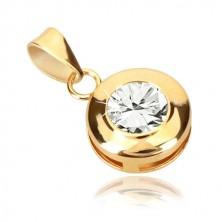 Pandantiv din aur galben de 9K - cerc cu crestături, zirconiu rotund strălucitor