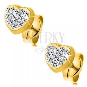 Cercei din aur galben de 9K - inimă cu cristale Swarovski transparente