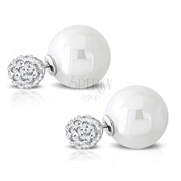 Cercei din oțel inoxidabil - bilă strălucitoare cu zirconii, perlă sintetică