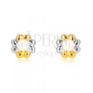 Cercei din aur combinat 585 - floare bicoloră cu perlă în mijloc