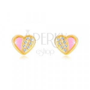 Cercei din aur de 14K - inimă simetrică decorată cu zirconii, smalț roz