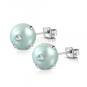 Cercei din oțel inoxidabil - perlă acrilică de culoare gri-albastru, zirconii transparente