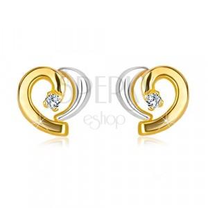 Cercei din aur combinat 585 - inimă asimetrică cu diamant